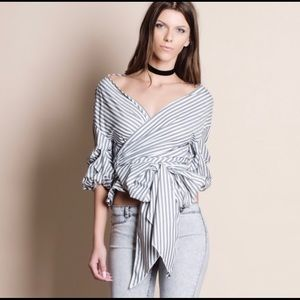 MINA Striped Faux Wrap Belted Top!